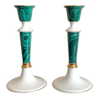 Vintage Malachite Porcelain Candlesticks- a Pair For Sale