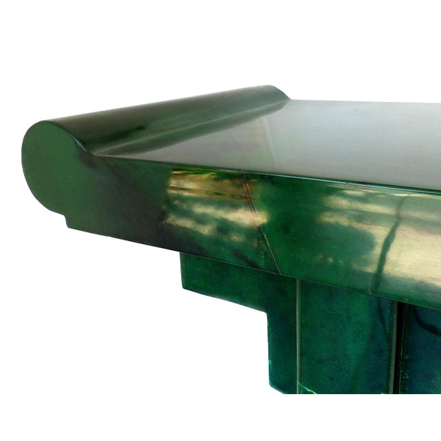 Karl Springer LTD Over-Scale Green Goatskin Stylized Altar Table Style Console Table For Sale - Image 4 of 9