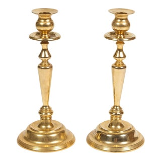 Polished Brass Candlesticks - a Pair For Sale
