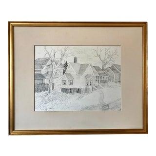 Vintage Original Drawing Village Scene by Roger Stokes For Sale