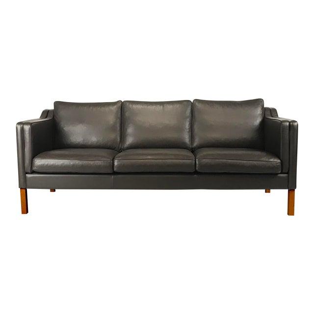 Vintage Danish Black Leather 3-Seat Sofa - Image 1 of 5