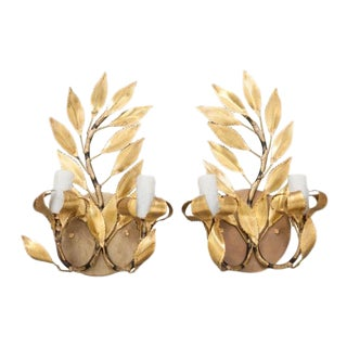 "Pair of French Gilt-Brass ""laurel Leaf"" Two-Arm Sconces For Sale"