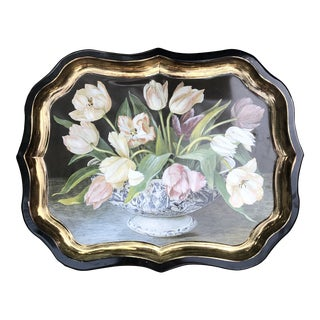 English Metal Scalloped Tray Tulips in Cachepot Exclusively for Keller Charles For Sale