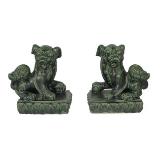 Late 19th Century Green Glazed Large Foo Dogs- A Pair For Sale