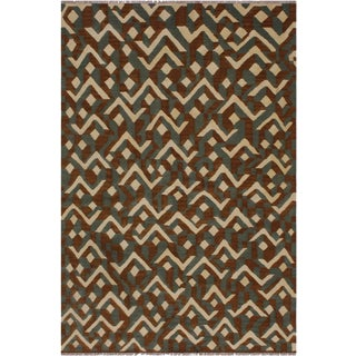Contemporary Swisher Brown Hand-Woven Kilim Wool Rug - 5′ × 6′8″ For Sale