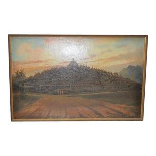 Mid-Century Javanese Temple Oil Painting by Frederik Kasenda C.1950s For Sale