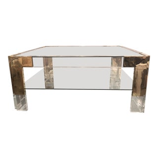 Vintage Lucite Brass 2 Tier Coffee Cocktail Table