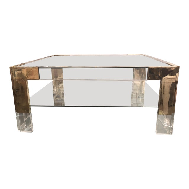 Vintage Lucite Brass 2 Tier Coffee Cocktail Table For Sale
