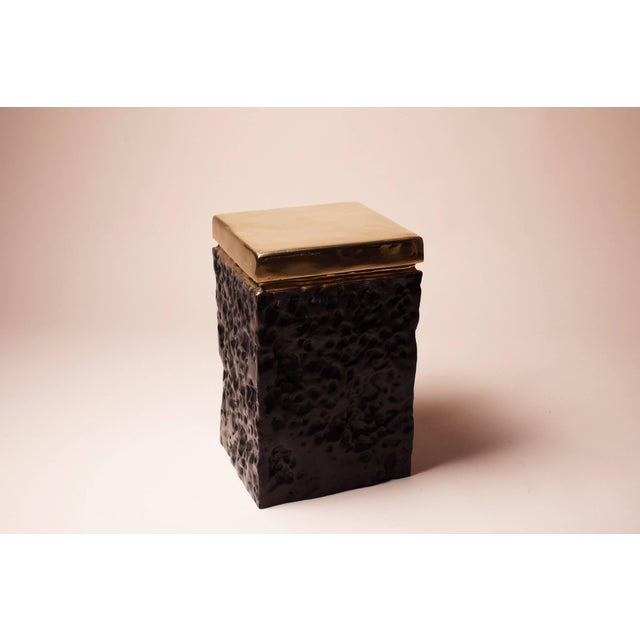 Hollywood Regency Black and Bronze Hand Casted Stool For Sale - Image 3 of 8