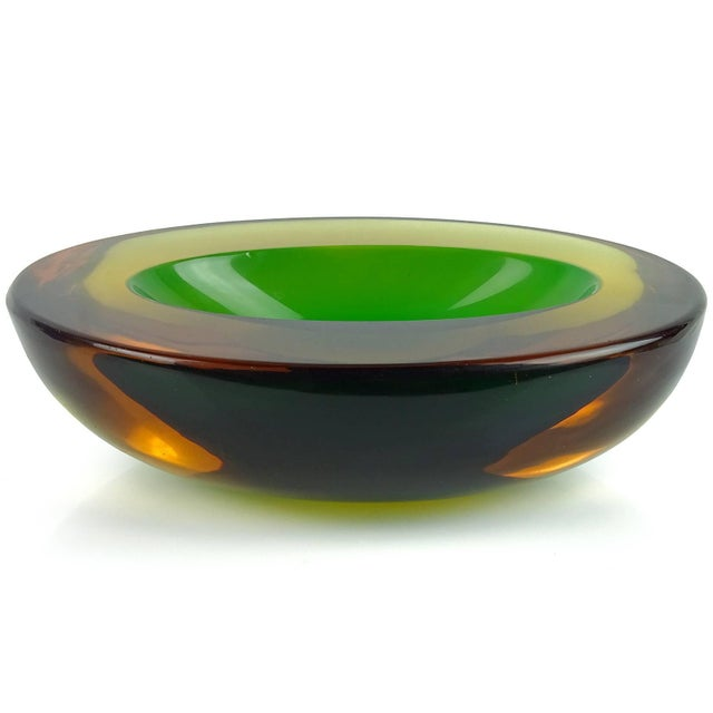 Beautiful Murano hand blown Sommerso yellow, orange amber and green Italian art glass bowl. Attributed to designer Flavio...