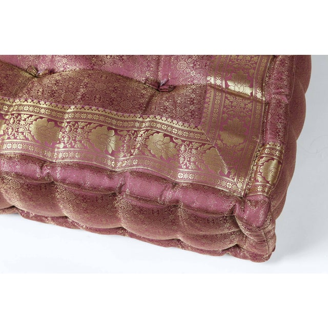 Oversized Silk Square Mauve and Gold Tufted Moroccan Floor Pillow For Sale - Image 4 of 7