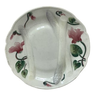 Keller & Guerin Saint Clement Majolica Asparagus Plate With Cyclamens For Sale
