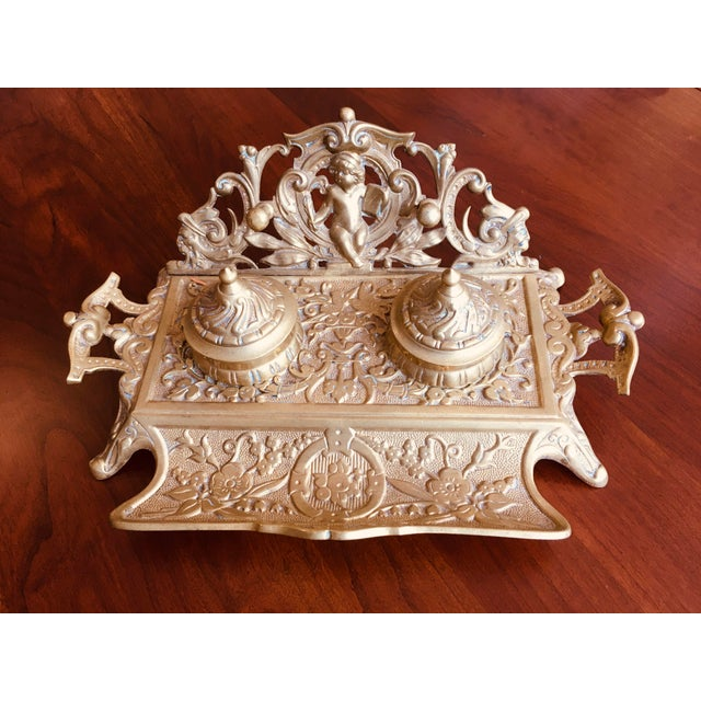1990s Vintage Brass Double Inkwell For Sale - Image 5 of 6
