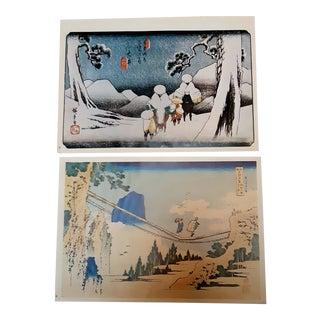 Vintage Japanese Landscape Scene Prints - a Pair For Sale