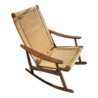 Mid-Century Yugoslavian Paper Cord Rocking Chair For Sale