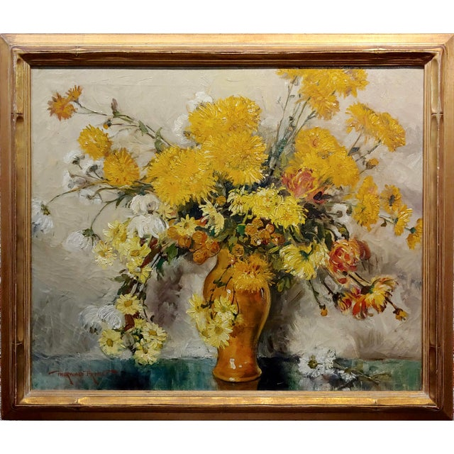 Thorwald Albert Probst -Beautiful Flowers of Fall Still Life-Oil panting c1910s Impressionist oil painting on canvas...