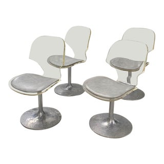 Mid Century Set of 4 Lucite Swivel Chairs For Sale