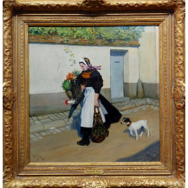 Jacques Wely -Woman & her Jack Russel dog coming from the Market-Oil painting French Oil Painting on board - signed and...