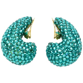 Richard Kerr 1980s Nautilus Shaped Turquoise Crystal Paved Clip on Earrings For Sale