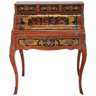 20th Century French Louis XV Style Wood Inlay Golden Bronzes Bureau Desk For Sale