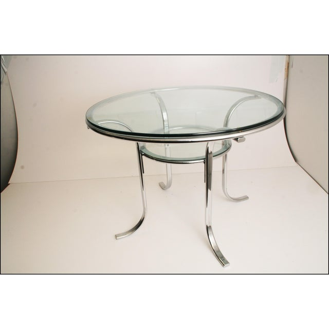 Mid-Century Modern Chrome & Glass Dining Table - Image 3 of 11