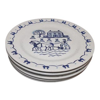 Early 20th Century Provincial Blue Poppytrail Metlox Dinner Plates - Set 6 For Sale