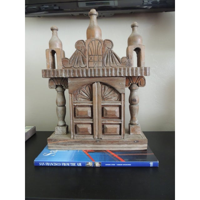 Vintage Indian hand-carved wood shrine with door. 1970's Size: 18 x 13.5 x 5 D.
