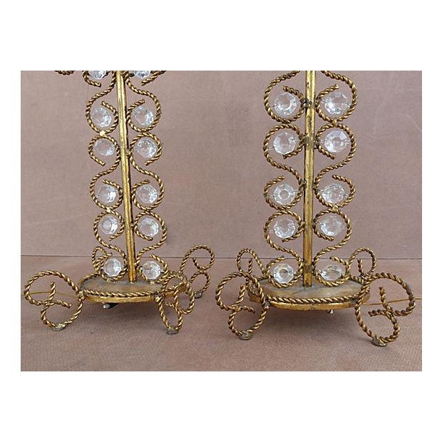 Hollywood Regency Vintage Gilt Rope-Twist & Crystal Lamps - A Pair For Sale - Image 3 of 9