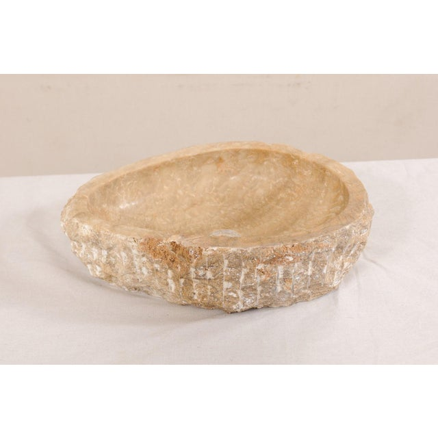 Early 21st Century Natural Carved Onyx Sink Basin in Taupe Color For Sale - Image 5 of 12