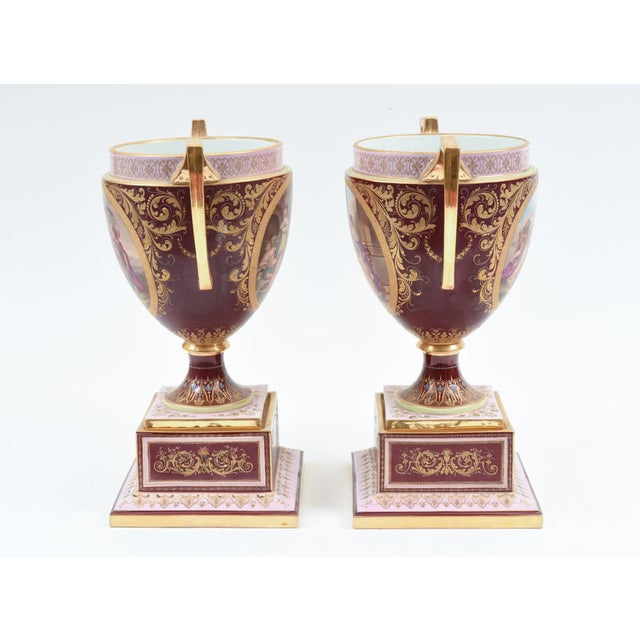 Antique Royal Vienna Porcelain Decorative Urns - a Pair For Sale - Image 10 of 13