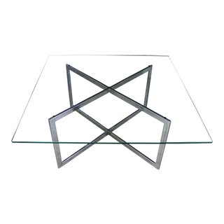 Square Mid Century Modern Chrome X-Base Glass Top Coffee Table After Baughman For Sale