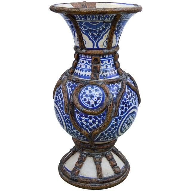 1900 - 1909 Blue Ceramic Vase W/ Fine Brass Filigree For Sale - Image 5 of 10