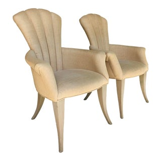 Hollywood Regency Burlap Covered Chair/2 For Sale