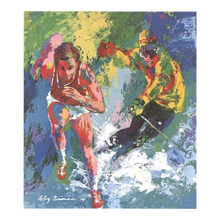 """Leroy Neiman Olympic Skier and Runner 26"""" X 22"""" Poster 1979 Expressionism Multicolor For Sale"""