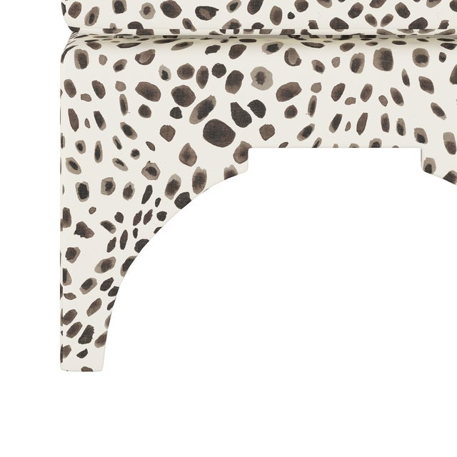 Transitional Ottoman, Washed Cheetah Cream Grey For Sale - Image 3 of 6