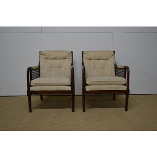 Thomasville Mid Century Upholstered Cane/Bamboo Bergere Chairs - a Pair Preview