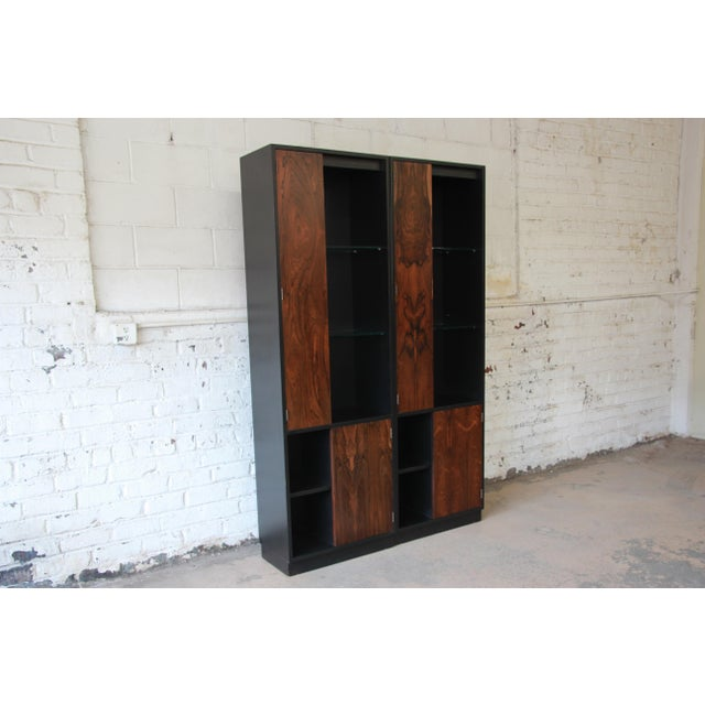 Harvey Probber Rosewood and Ebonized Wood Display Cabinets, Pair For Sale - Image 9 of 11