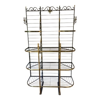 Vintage French Brass & Iron Baker's Rack