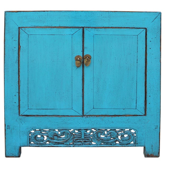 Blue Chinese Distressed Rustic Bright Turquoise Blue Foyer Console Table Cabinet For Sale - Image 8 of 9