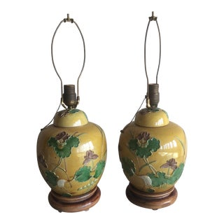 Pair of Antique Chinese Ginger Jars Lamps For Sale