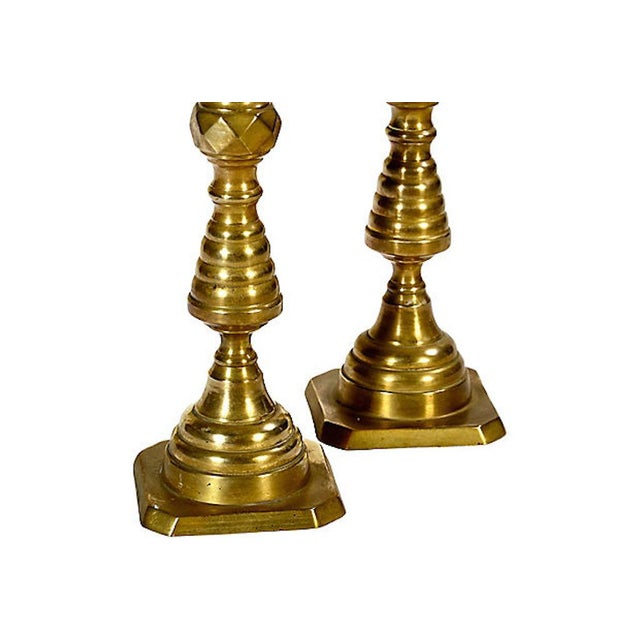 Early 20th-C. solid brass tall candleholders. No maker's mark.