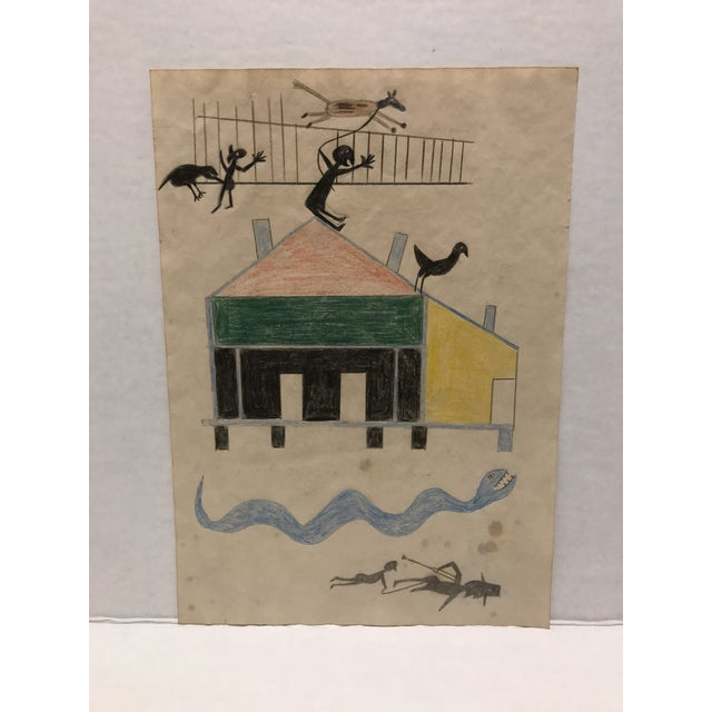 Museum Quality Rendering Inspired By The Works Of Bill Traylor. Drawn Free Hand Using Pencil & Crayon On Aged Paper....