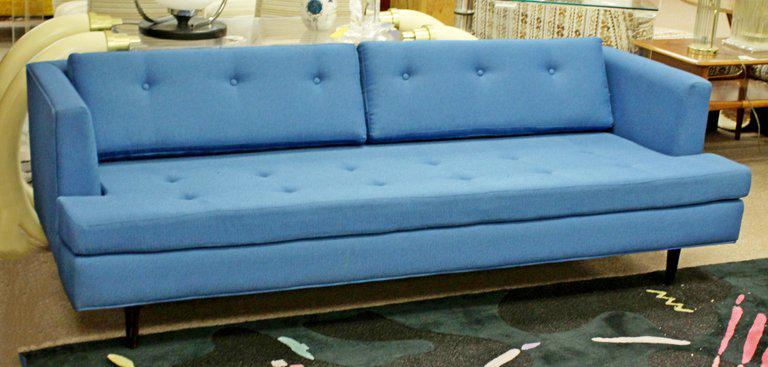World Class 1960s Mid Century Modern Tufted Blue Sofa Decaso