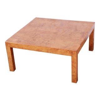 Milo Baughman Style Mid-Century Burl Wood Parsons Coffee Table For Sale