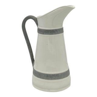 Early 20th Century White Pitcher With Metal Handle and Trim For Sale