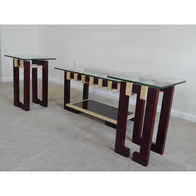 Modern Ant Walnut Maple Coffee & Side Tables - Set 3 - Image 3 of 9