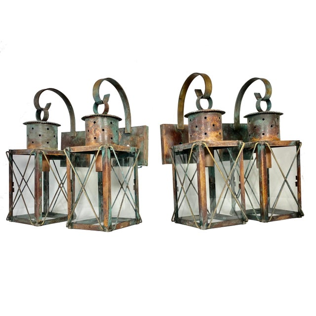 Solid Copper Custom-Made Outdoor Wall Lanterns by Genie House, Set of 4 For Sale - Image 13 of 13