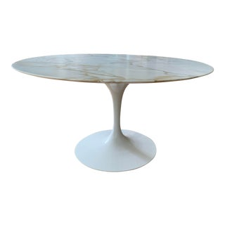 Knoll Style Marble Top Dining Table For Sale