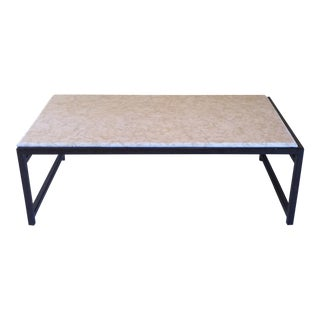 Limestone and Steel Coffee Table For Sale