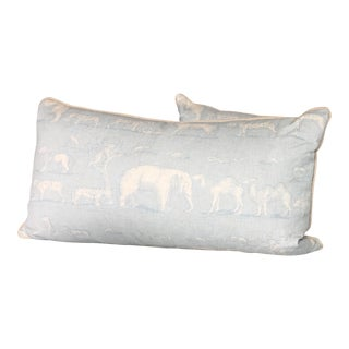 Custom Blue/White Animal Print King Size Pillows - A Pair For Sale
